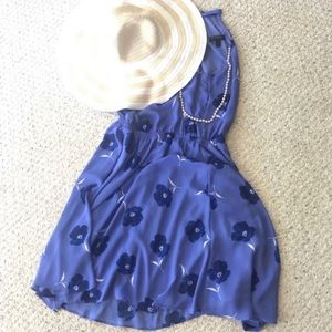 Banana Republic Fit-and-Flare Blue Floral Dress